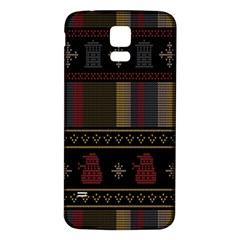 Tardis Doctor Who Ugly Holiday Samsung Galaxy S5 Back Case (White)