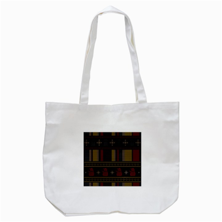 Tardis Doctor Who Ugly Holiday Tote Bag (White)