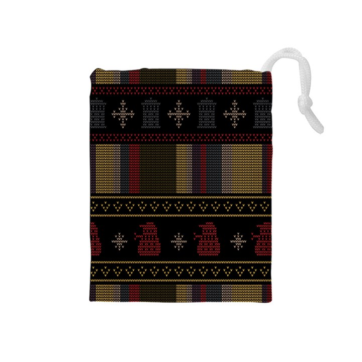 Tardis Doctor Who Ugly Holiday Drawstring Pouches (Medium)