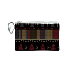 Tardis Doctor Who Ugly Holiday Canvas Cosmetic Bag (s)