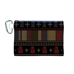 Tardis Doctor Who Ugly Holiday Canvas Cosmetic Bag (m)