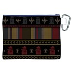Tardis Doctor Who Ugly Holiday Canvas Cosmetic Bag (XXL) Back