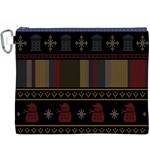 Tardis Doctor Who Ugly Holiday Canvas Cosmetic Bag (XXXL) Front