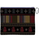 Tardis Doctor Who Ugly Holiday Canvas Cosmetic Bag (XXXL) Back