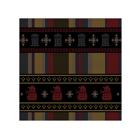 Tardis Doctor Who Ugly Holiday Small Satin Scarf (Square)