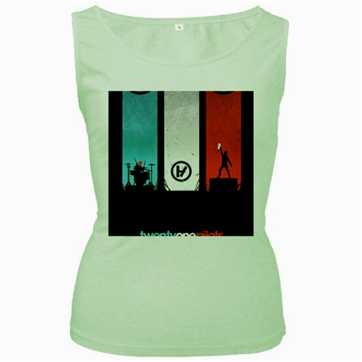 Twenty One 21 Pilots Women s Green Tank Top