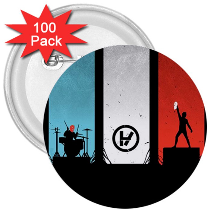 Twenty One 21 Pilots 3  Buttons (100 pack)