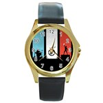 Twenty One 21 Pilots Round Gold Metal Watch Front