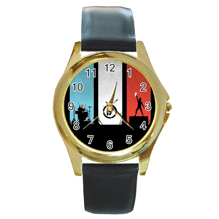 Twenty One 21 Pilots Round Gold Metal Watch