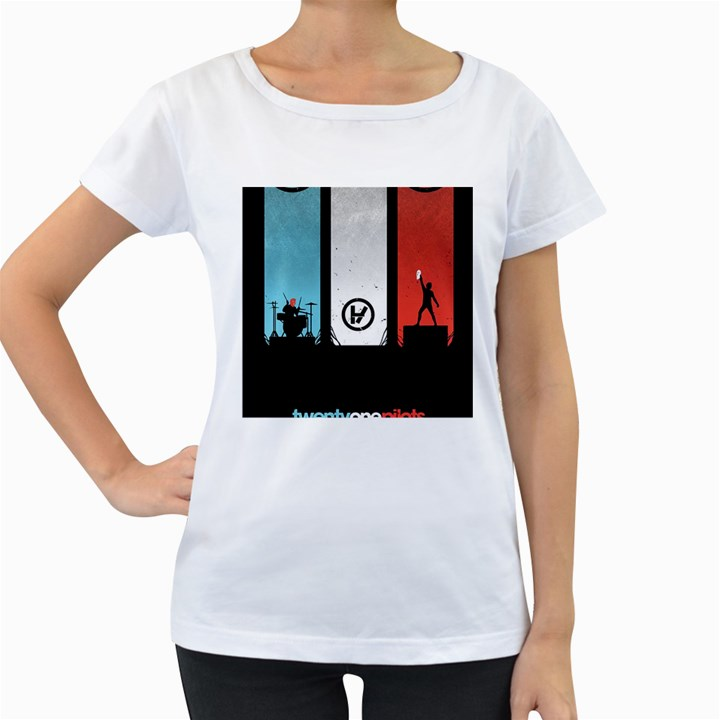 Twenty One 21 Pilots Women s Loose-Fit T-Shirt (White)