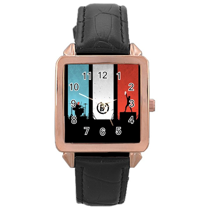 Twenty One 21 Pilots Rose Gold Leather Watch