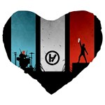 Twenty One 21 Pilots Large 19  Premium Flano Heart Shape Cushions Back
