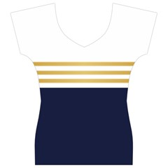 Dress Up Blue And Gold Women s V-Neck Cap Sleeve Top