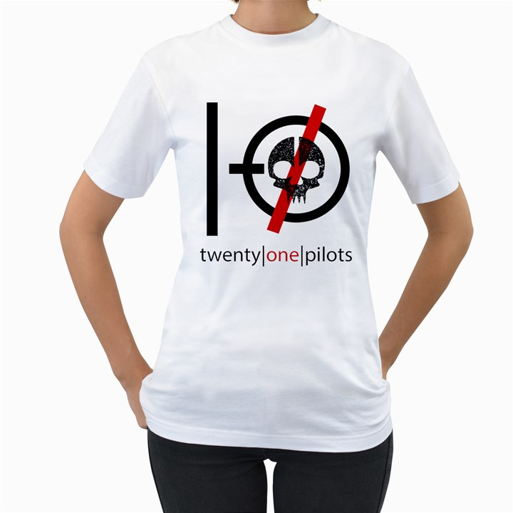 Twenty One Pilots Skull Women s T-Shirt (White) (Two Sided)