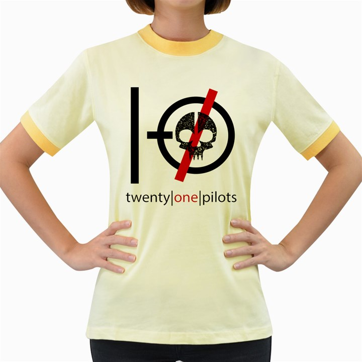 Twenty One Pilots Skull Women s Fitted Ringer T-Shirts