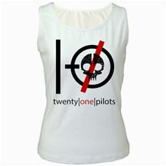 Twenty One Pilots Skull Women s White Tank Top