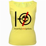 Twenty One Pilots Skull Women s Yellow Tank Top Front
