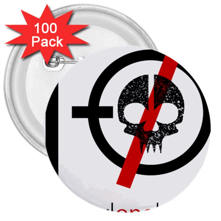Twenty One Pilots Skull 3  Buttons (100 pack)
