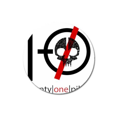 Twenty One Pilots Skull Magnet 3  (Round)
