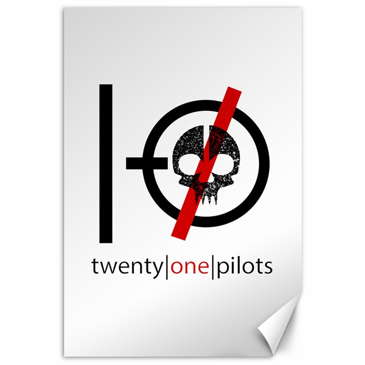 Twenty One Pilots Skull Canvas 12  x 18