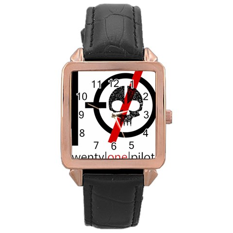 Twenty One Pilots Skull Rose Gold Leather Watch