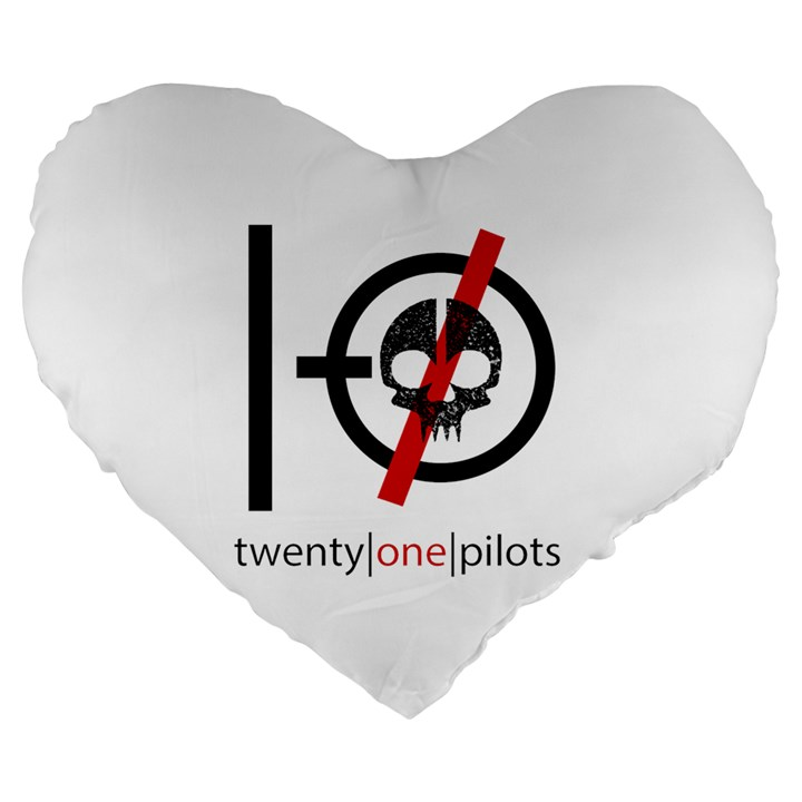 Twenty One Pilots Skull Large 19  Premium Flano Heart Shape Cushions