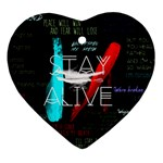 Twenty One Pilots Stay Alive Song Lyrics Quotes Ornament (Heart)  Front