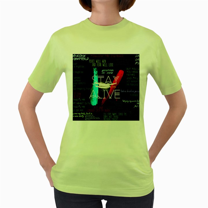 Twenty One Pilots Stay Alive Song Lyrics Quotes Women s Green T-Shirt