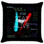 Twenty One Pilots Stay Alive Song Lyrics Quotes Throw Pillow Case (Black) Front