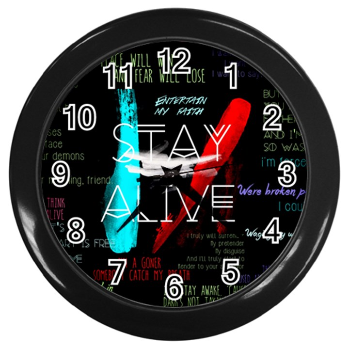 Twenty One Pilots Stay Alive Song Lyrics Quotes Wall Clocks (Black)