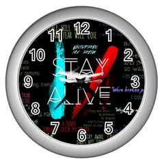 Twenty One Pilots Stay Alive Song Lyrics Quotes Wall Clocks (Silver)