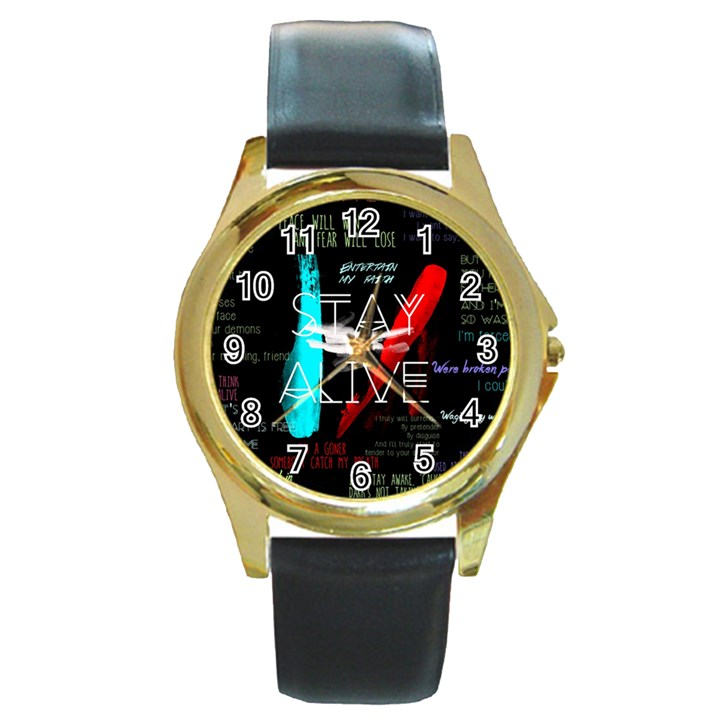Twenty One Pilots Stay Alive Song Lyrics Quotes Round Gold Metal Watch