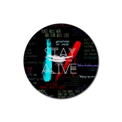 Twenty One Pilots Stay Alive Song Lyrics Quotes Rubber Round Coaster (4 pack)