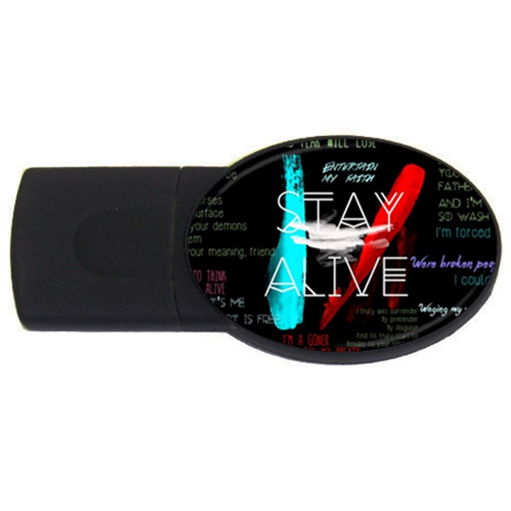 Twenty One Pilots Stay Alive Song Lyrics Quotes USB Flash Drive Oval (1 GB)