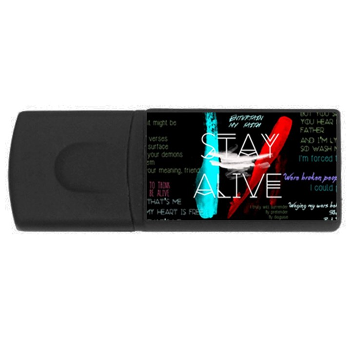 Twenty One Pilots Stay Alive Song Lyrics Quotes USB Flash Drive Rectangular (2 GB)