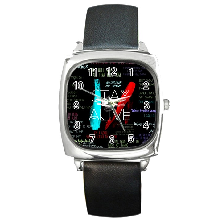 Twenty One Pilots Stay Alive Song Lyrics Quotes Square Metal Watch