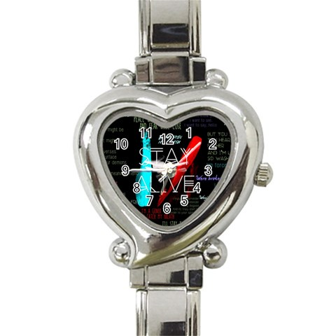 Twenty One Pilots Stay Alive Song Lyrics Quotes Heart Italian Charm Watch