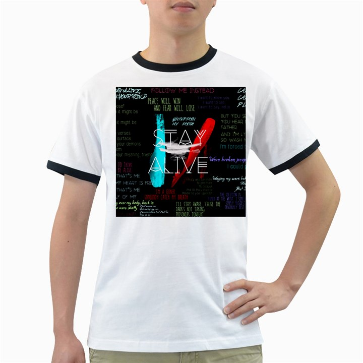 Twenty One Pilots Stay Alive Song Lyrics Quotes Ringer T-Shirts