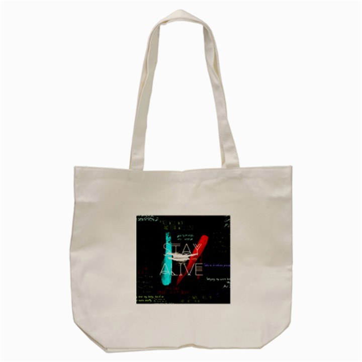 Twenty One Pilots Stay Alive Song Lyrics Quotes Tote Bag (Cream)