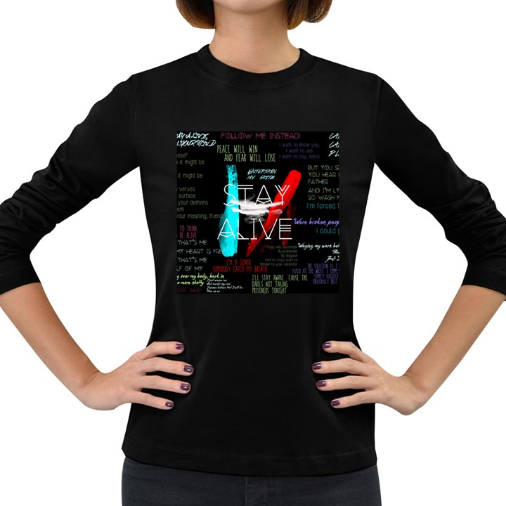 Twenty One Pilots Stay Alive Song Lyrics Quotes Women s Long Sleeve Dark T-Shirts
