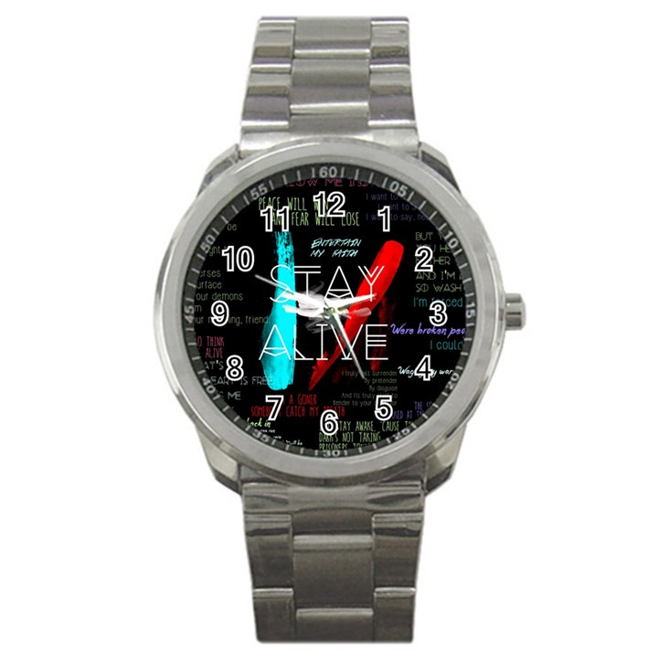 Twenty One Pilots Stay Alive Song Lyrics Quotes Sport Metal Watch