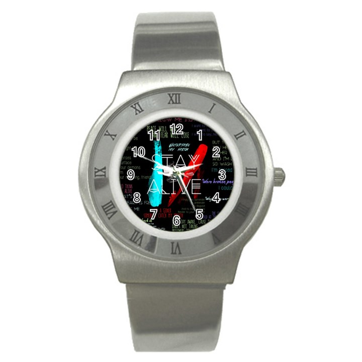 Twenty One Pilots Stay Alive Song Lyrics Quotes Stainless Steel Watch