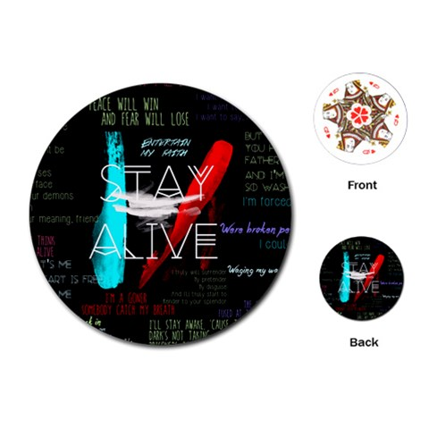 Twenty One Pilots Stay Alive Song Lyrics Quotes Playing Cards (Round)