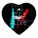 Twenty One Pilots Stay Alive Song Lyrics Quotes Heart Ornament (2 Sides) Back