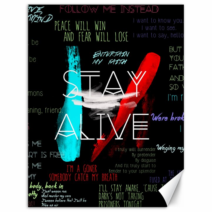 Twenty One Pilots Stay Alive Song Lyrics Quotes Canvas 12  x 16