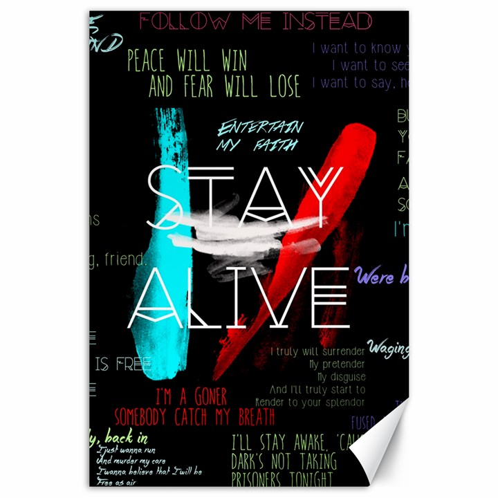 Twenty One Pilots Stay Alive Song Lyrics Quotes Canvas 24  x 36