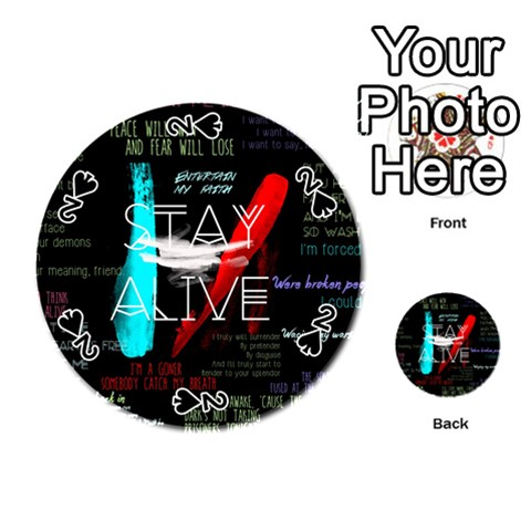 Twenty One Pilots Stay Alive Song Lyrics Quotes Playing Cards 54 (Round)