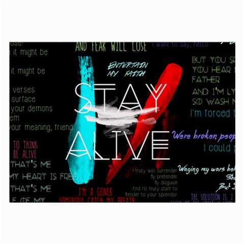 Twenty One Pilots Stay Alive Song Lyrics Quotes Large Glasses Cloth