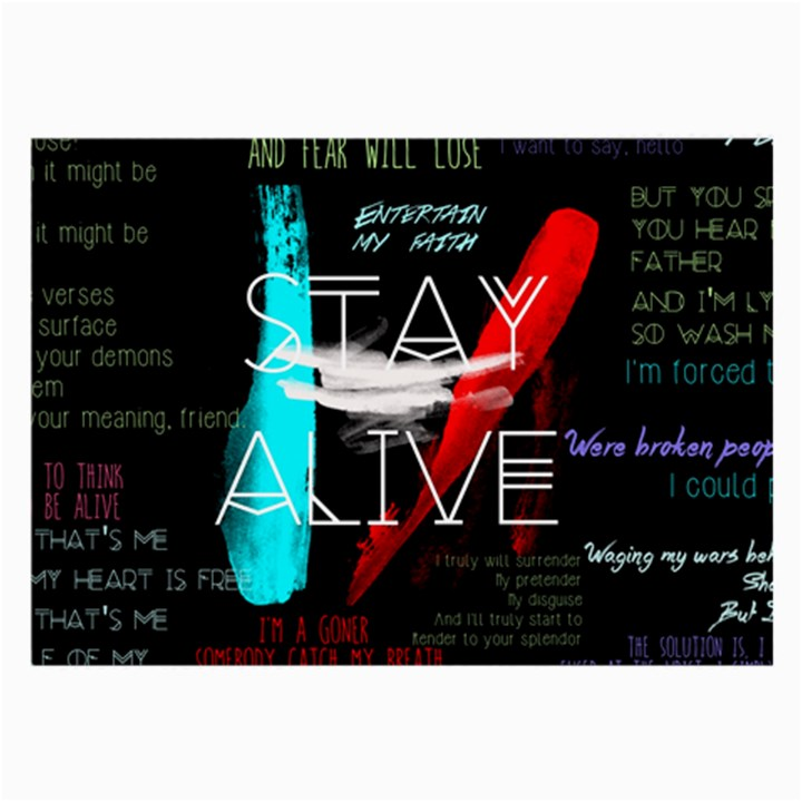 Twenty One Pilots Stay Alive Song Lyrics Quotes Large Glasses Cloth (2-Side)