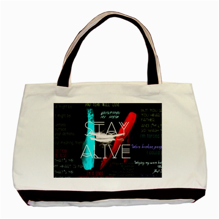 Twenty One Pilots Stay Alive Song Lyrics Quotes Basic Tote Bag (Two Sides)